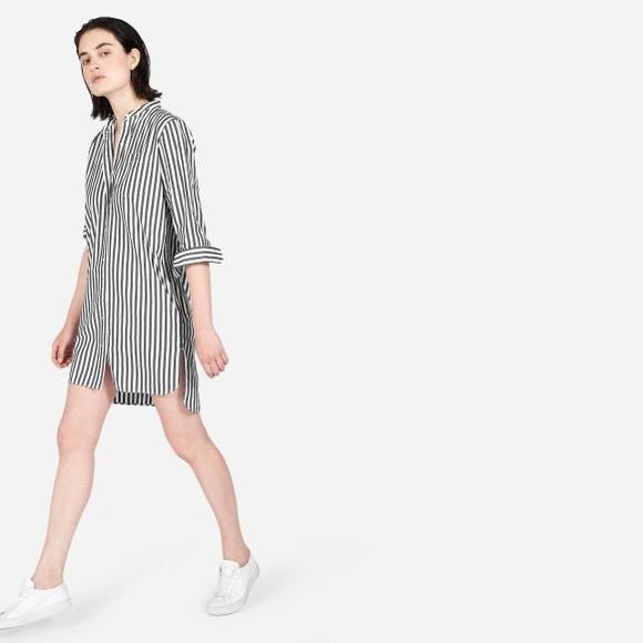 Everlane Dresses & Skirts - Everlane  Poplin Striped Collarless Shirt Dress